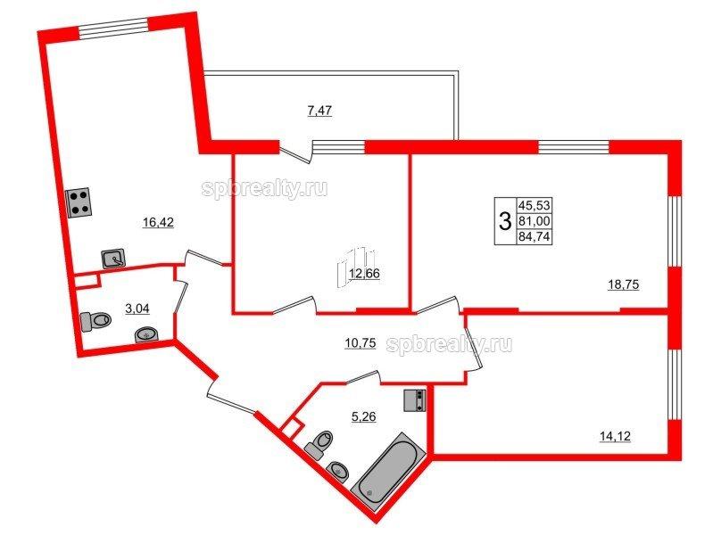Планировка Трёхкомнатная квартира площадью 84.74 кв.м в ЖК «Новое Сертолово»