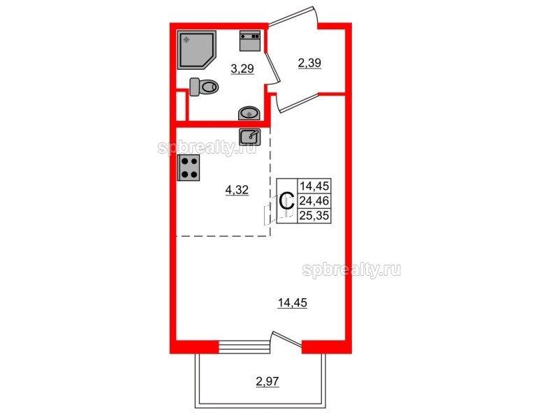 Планировка Студия площадью 25.35 кв.м в ЖК «Новое Сертолово»