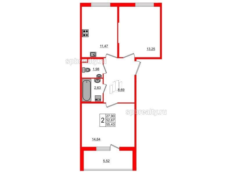 Планировка Двухкомнатная квартира площадью 55.43 кв.м в ЖК «Новое Сертолово»