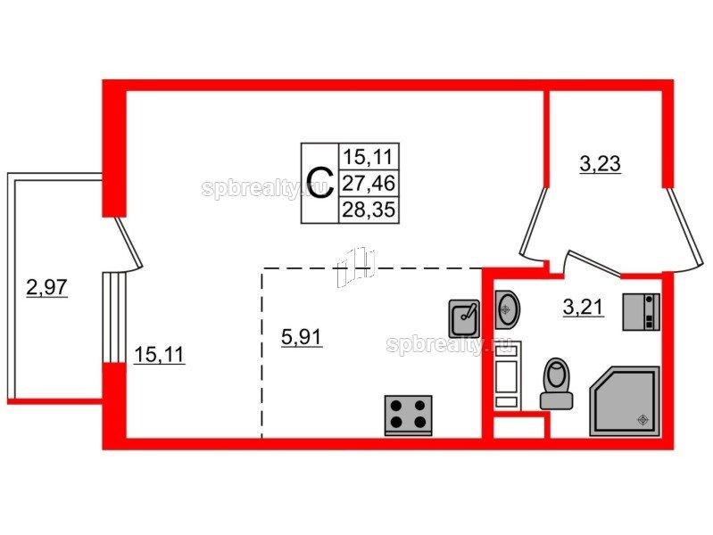 Планировка Студия площадью 28.35 кв.м в ЖК «Новое Сертолово»