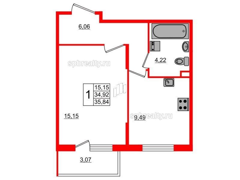 Планировка Однокомнатная квартира площадью 35.84 кв.м в ЖК «Новое Сертолово»