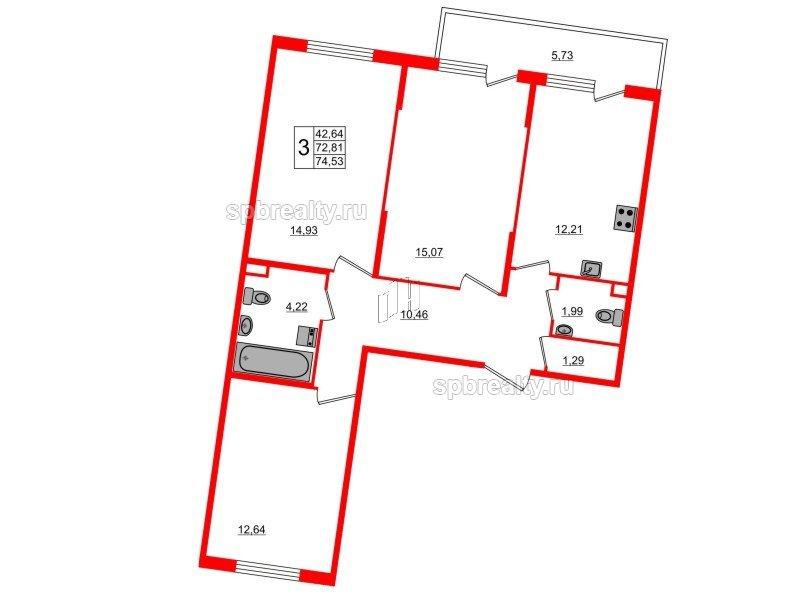 Планировка Трёхкомнатная квартира площадью 74.53 кв.м в ЖК «Новое Сертолово»