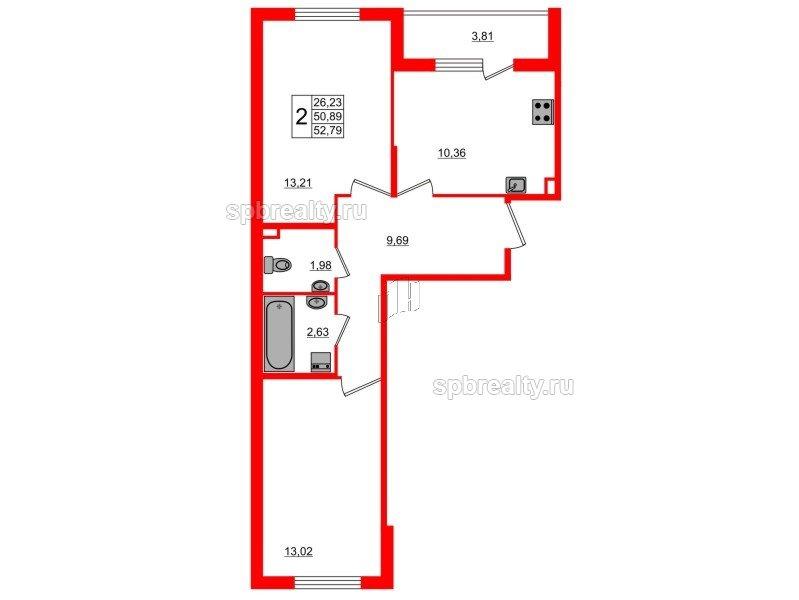 Планировка Двухкомнатная квартира площадью 52.79 кв.м в ЖК «Новое Сертолово»