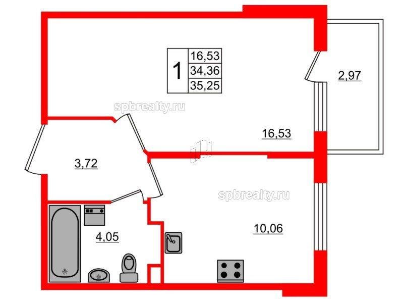 Планировка Однокомнатная квартира площадью 35.25 кв.м в ЖК «Новое Сертолово»