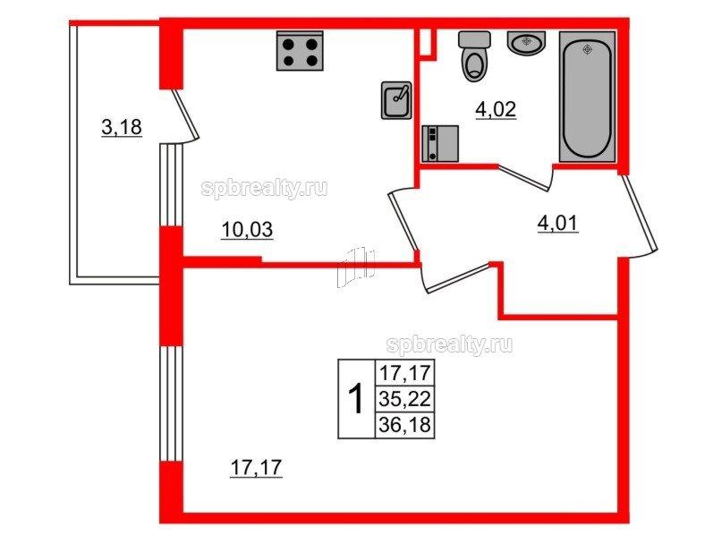 Планировка Однокомнатная квартира площадью 36.18 кв.м в ЖК «Новое Сертолово»