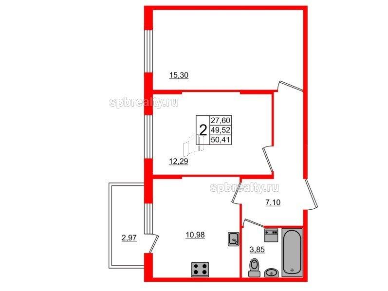 Планировка Двухкомнатная квартира площадью 50.41 кв.м в ЖК «Новое Сертолово»