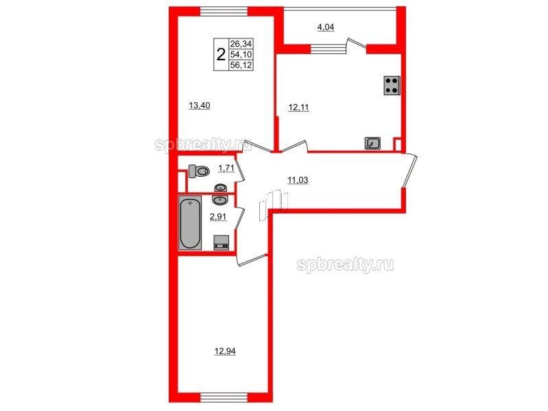 Планировка Двухкомнатная квартира площадью 56.12 кв.м в ЖК «Новое Сертолово»