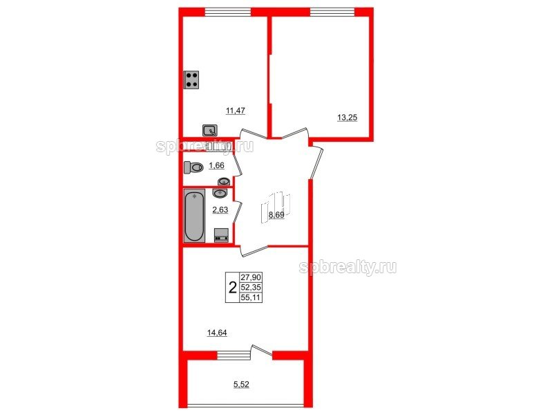 Планировка Двухкомнатная квартира площадью 55.11 кв.м в ЖК «Новое Сертолово»