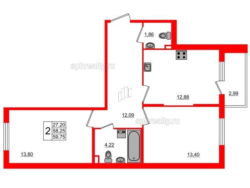 Планировка Двухкомнатная квартира площадью 59.75 кв.м в ЖК «Новое Сертолово»