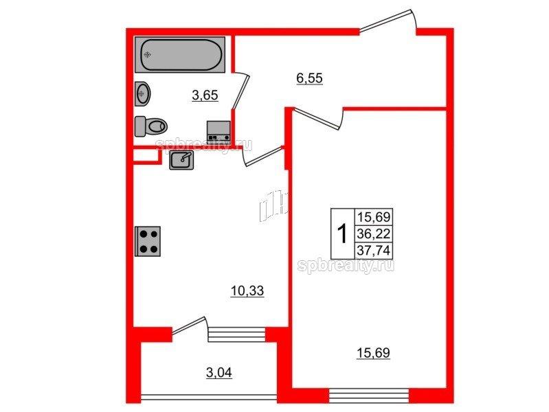 Планировка Однокомнатная квартира площадью 37.74 кв.м в ЖК «Новое Сертолово»