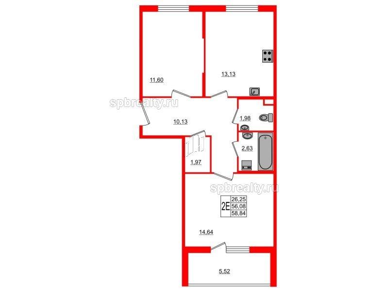 Планировка Двухкомнатная квартира площадью 58.84 кв.м в ЖК «Новое Сертолово»